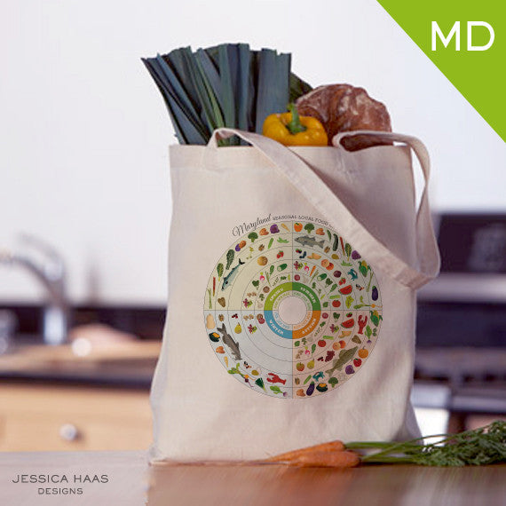 Maryland Seasonal Food Grocery Tote Bag