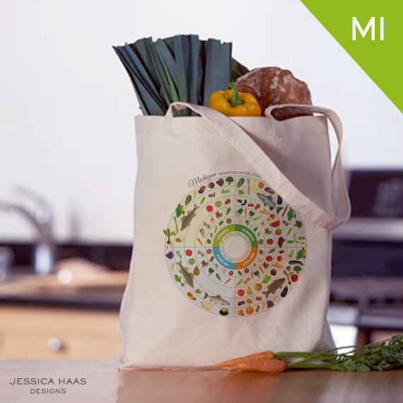 Michigan Seasonal Food Grocery Tote Bag
