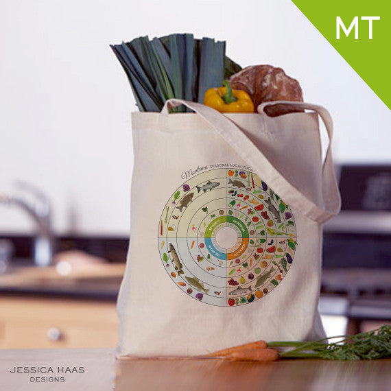 Montana Seasonal Food Grocery Tote Bag