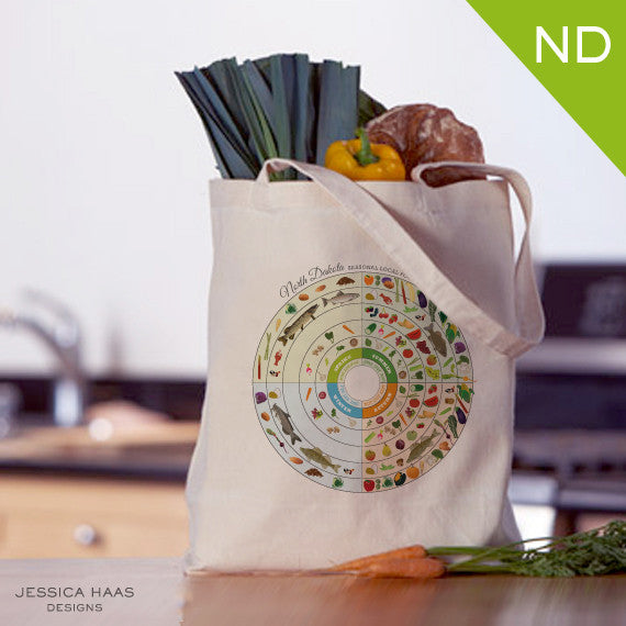 North Dakota Seasonal Food Grocery Tote Bag