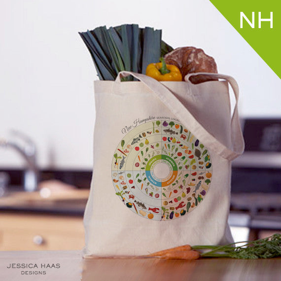 New Hampshire Seasonal Food Grocery Tote Bag
