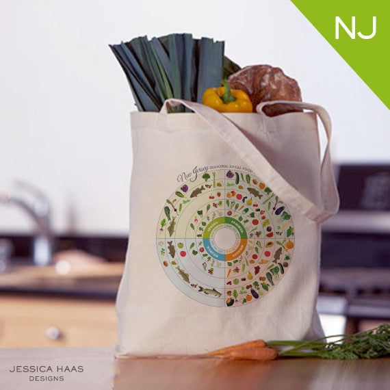 New Jersey Seasonal Food Grocery Tote Bag