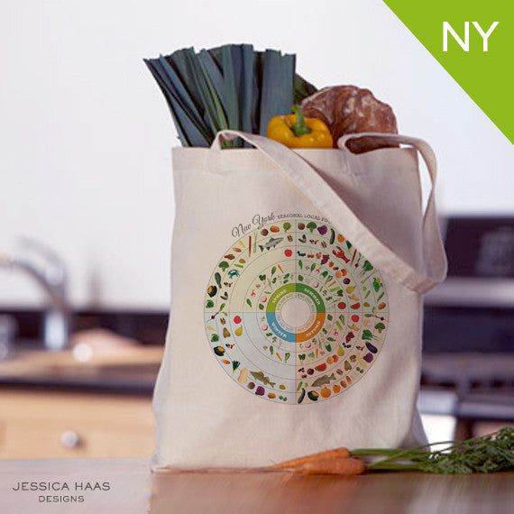New York Seasonal Food Grocery Tote Bag