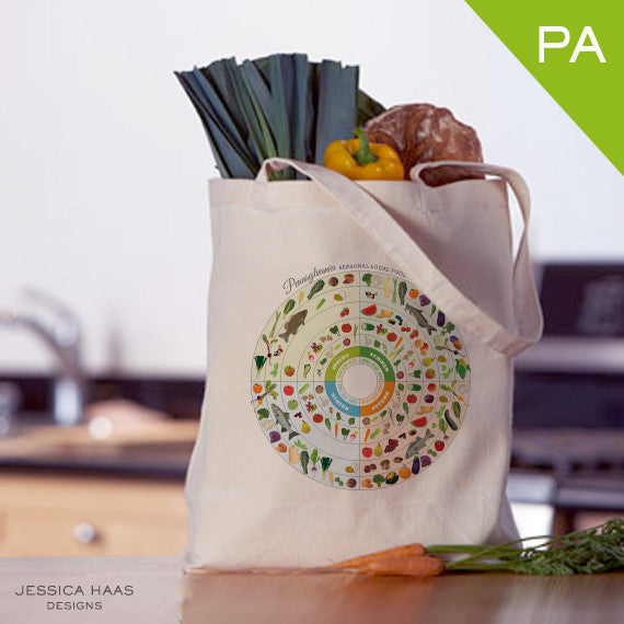 Pennsylvania Seasonal Food Grocery Tote Bag