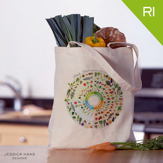 Rhode Island Seasonal Food Grocery Tote Bag