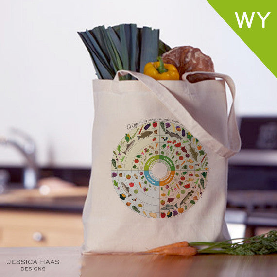 Wyoming Seasonal Food Grocery Tote Bag