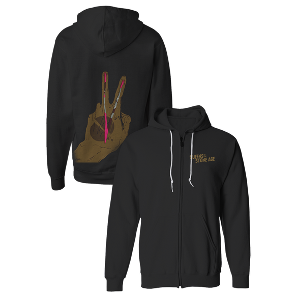 V Fingers Black Zip Hoodie - Queens of the Stone Age