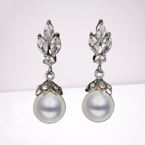 Bridal CZ Earrings with Freshwater Pearl Accent