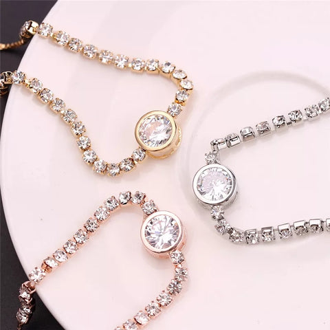 Round Crystal Bracelet Adjustable Bridesmaid Gifts