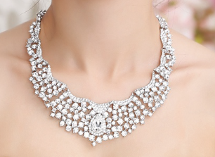 Bridal Luxury Large Jewellery Set, Earrings and Necklace Modern Chic - FabFunBride