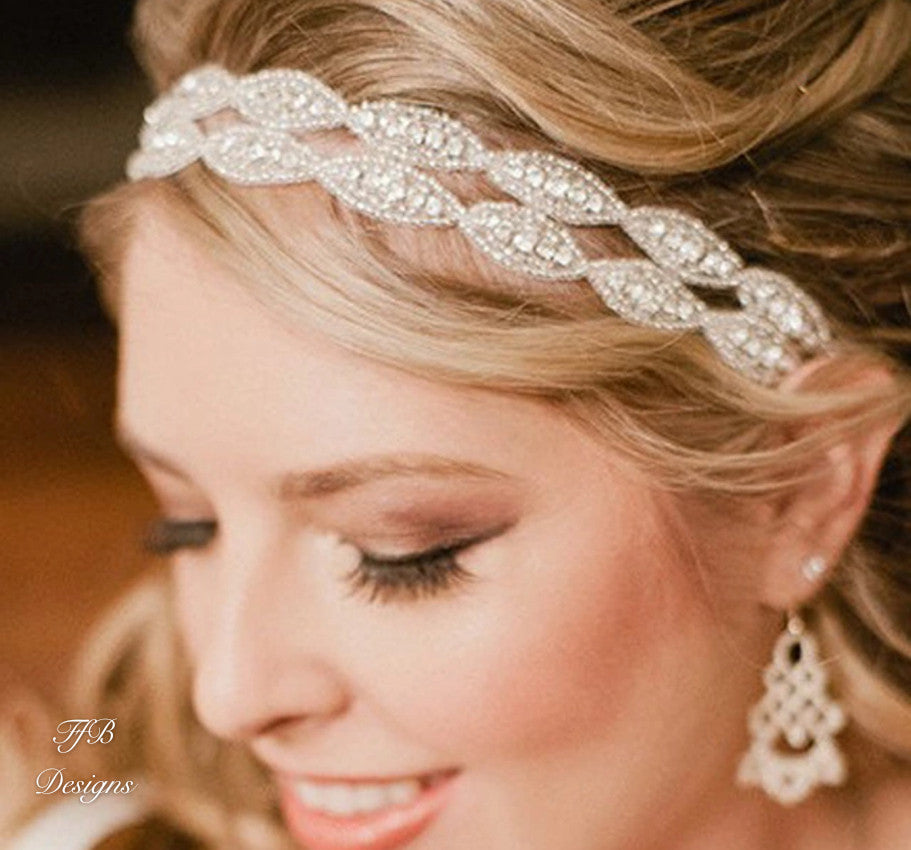 Bridal Hairpiece/ Hairband with Austrian Crystals - FabFunBride