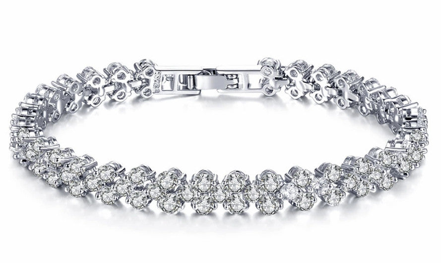 18k White gold Plated Bracelet with Cubic Zirconia - FabFunBride