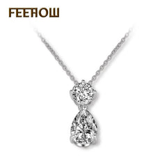 FERROW Popular Round And Teardrop Cubic Zirconia Pendant Necklaces Beautiful Crystal Women Jewelry For Party FWNP066 - FabFunBride