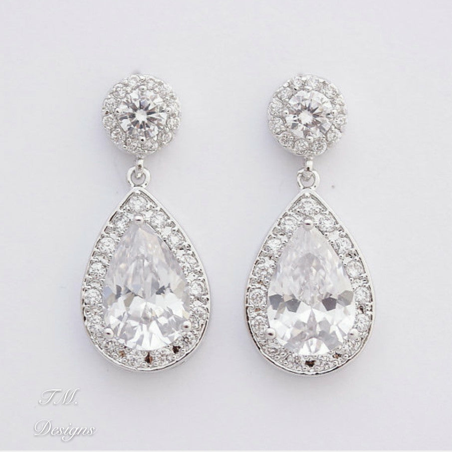 Stunning Bridal Teardrop Earrings - FabFunBride