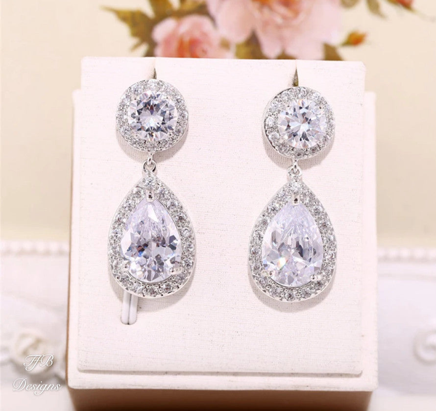 Bianca Luxe Bridal Teardrop Earrings - FabFunBride