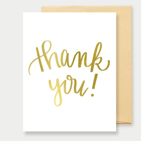 Gold Foil Thank You- A2 Greeting Card - FabFunBride