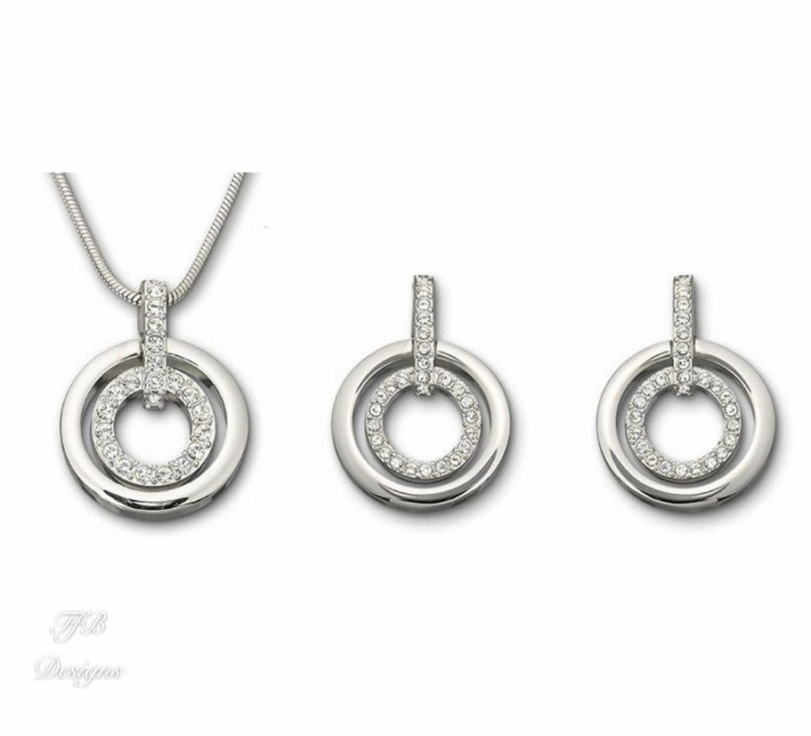 Circle Zirconia Bridesmaids Sets Necklace and Earrings - FabFunBride