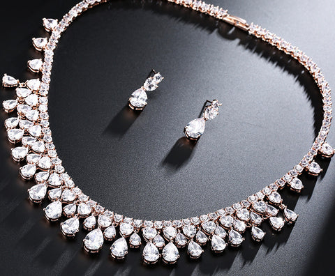 Rose Gold Color Water Drop Round Cubic Zircon Large Bridal Diamante Necklace Jewelry Sets For Wedding T220 - FabFunBride