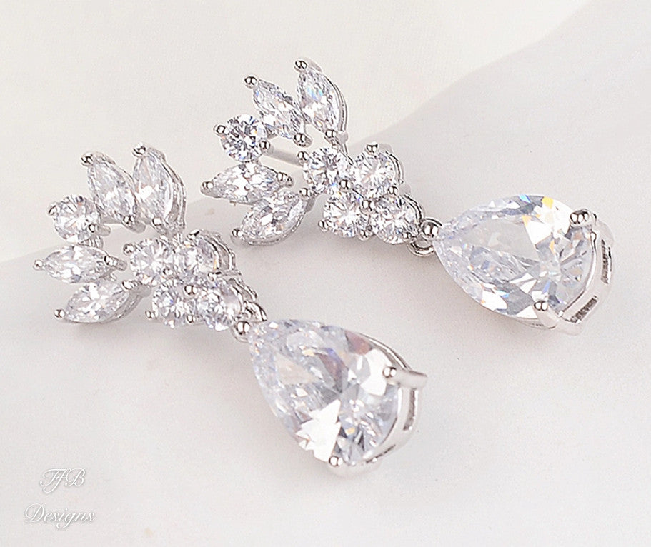 Cubic Zirconia Teardrop Earrings - FabFunBride