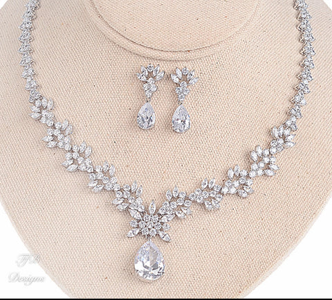 Cubic Zirconia Teardrop Set Earrings and Necklace - FabFunBride