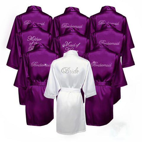 Custom Bride Bridesmaid Silk Robe - FabFunBride