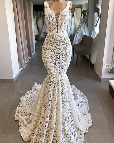 Elegant Lace Mermaid Wedding Dress Sexy V-Neck Backless Formal Dress Party Sleeveless