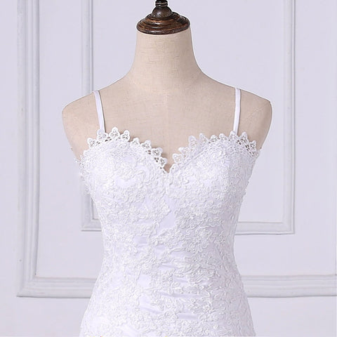 White Vintage Lace Appliques Mermaid Wedding Dresses Spaghetti Straps Backless Wedding Gowns Bridal Dress