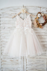 New Flower Girl Ball Gowm Dress 2019 Hot Spaghetti Strap Appliques Lace Tulle Dress for Wedding Party and First Communion