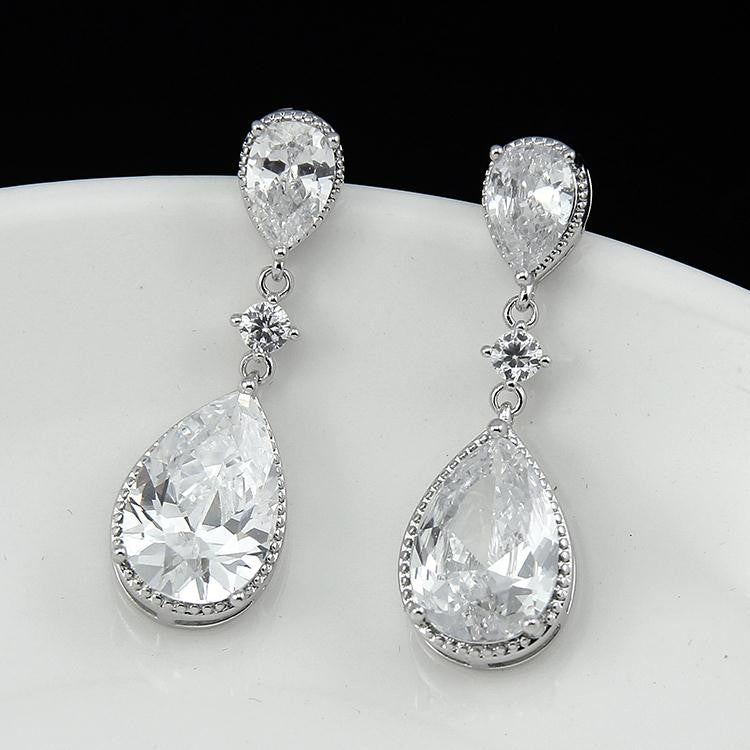 High Quality CZ Water drop Earrings - FabFunBride