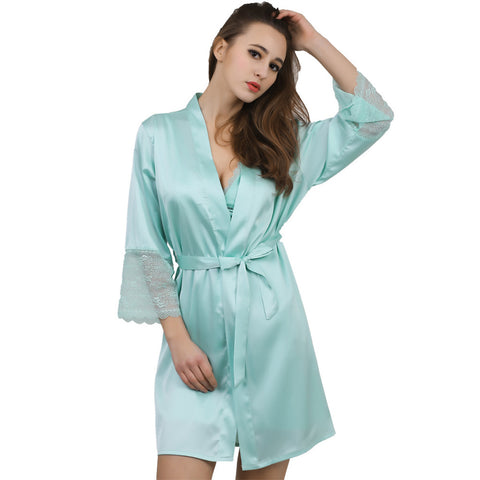 Silk Satin wedding bride bridesmaid Plus Size Kimono Robe - FabFunBride