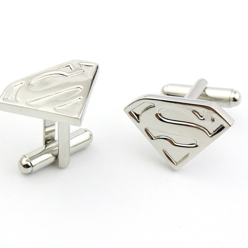 Silver Plated Super Hero Superman Cufflinks, Groomsmen, Groom Gift - FabFunBride