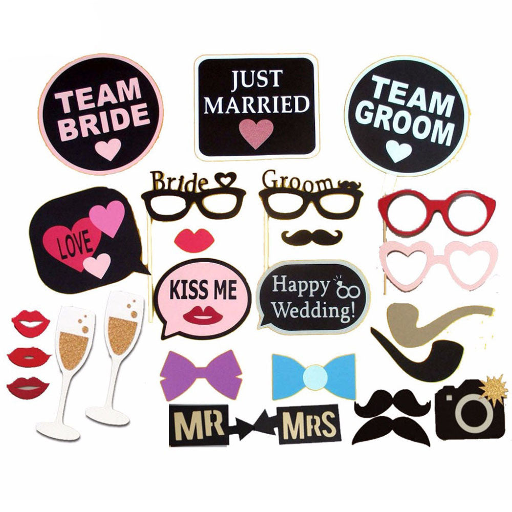 26pcs/Lot Happy Wedding Photo Booth Props Just Married Team Groom&Bride Photobooth Wedding Party Decoraiton Centerpieces - FabFunBride