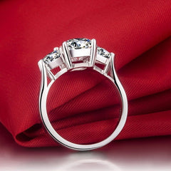 Square Shaped 3 Stones 925 Sterling Silver - FabFunBride