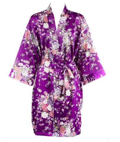 Satin Robe Printed Floral Bridesmaid - FabFunBride