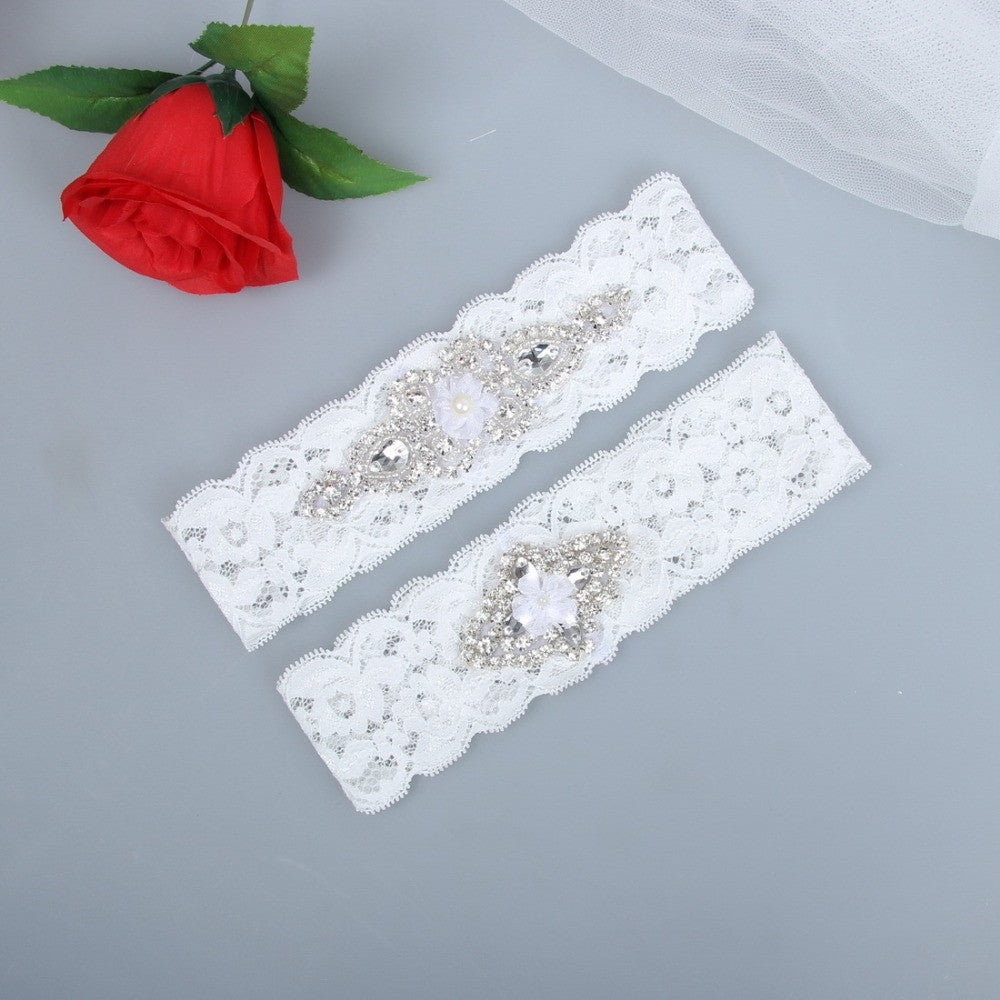 2pcs/set Rhinestones Pearl Lace Wedding Bridal Garter Belt Set - FabFunBride