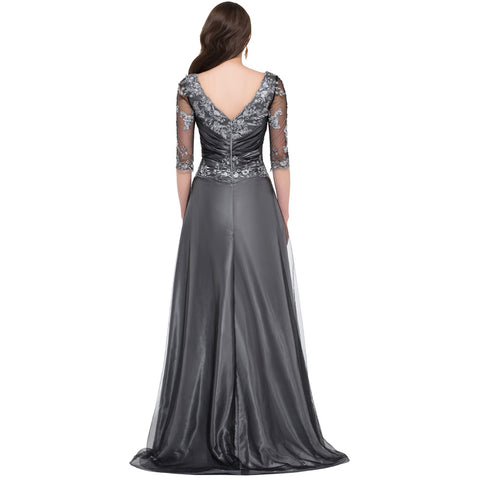 Grey Elegant Long half Sleeve Mother Of The Bride Dress - FabFunBride