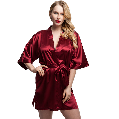 Short Satin Kimono Robes Bride Bridesmaid Robes - FabFunBride