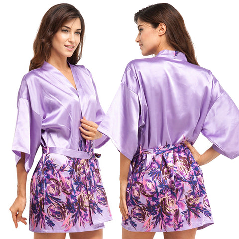 Short Satin Bridesmaid Bride Robe - FabFunBride