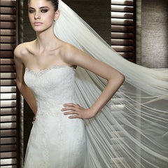 Bridal Simple 3 Meters Width 1.5 M Veil With Comb 2 Layer - FabFunBride