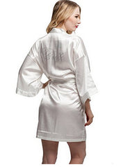 Fashion Silk Bridesmaid Bride Robe Sexy Women Short Satin Wedding Kimono Robes Sleepwear Nightgown Dress Woman Bathrobe Pajamas - FabFunBride