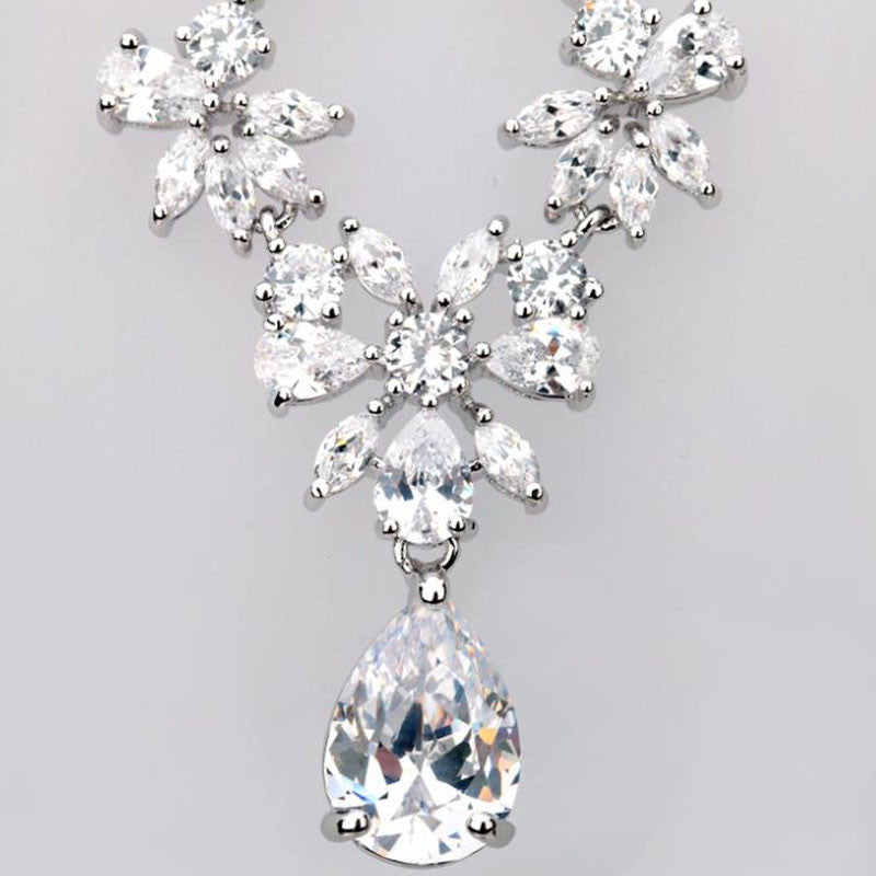Luxurious Bridal Vintage Drop Stone Cubic Zircon Necklace and Earrings Jewelry Set - FabFunBride