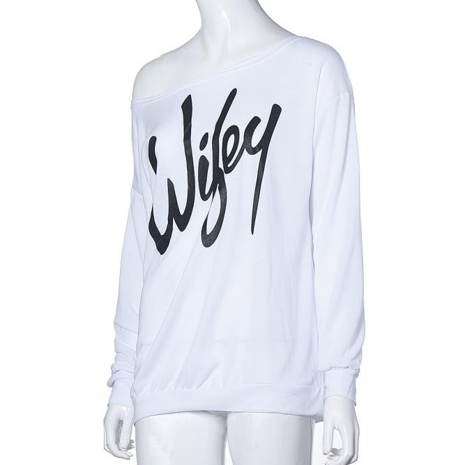 Women Sweatshirt Wifey Printed Pullover Sexy Slash Neck - FabFunBride