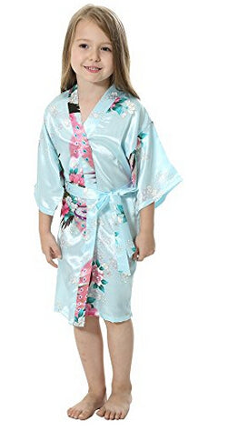 RB009 Peacock Kids Robe Satin Children Kimono Robes Bridesmaid Flower Girl Dress Silk children's bathrobe Nightgown Kimono robe - FabFunBride