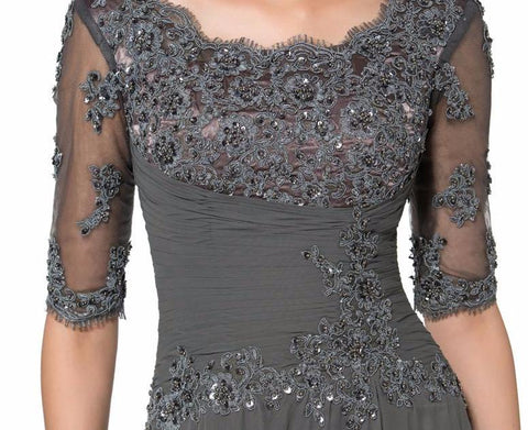 Elegant Long Dark Gray Lace Mother of the Bride Dress with Half Sleeves beaded - FabFunBride