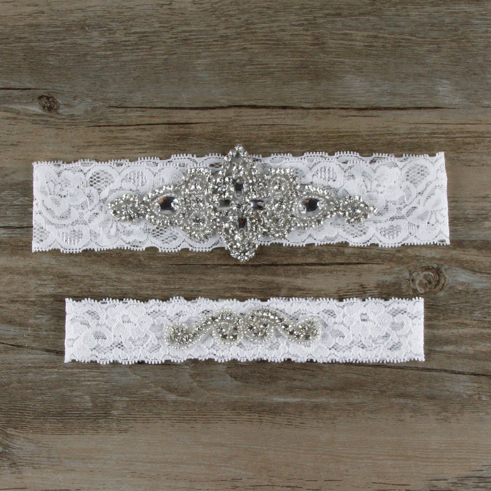 Crystal 2pcs/SetGarters Set Keepsake Toss High Quality Lace - FabFunBride