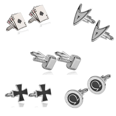 8 Style Fun Simple Design Cufflinks High Quality - FabFunBride