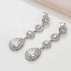 Pave Setting Vintage AAA CZ earrings luxury dangle zircon - FabFunBride