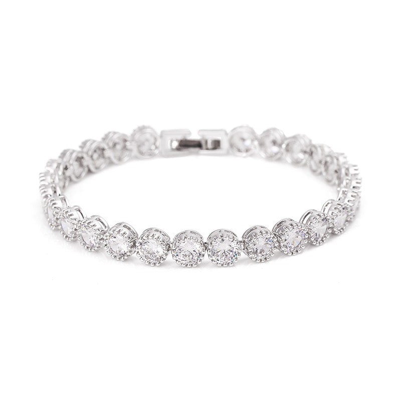 Round Cut Cubic Zirconia CZ Crystal Tennis Bracelet in Silver 1 Row Bridal Chain Bracelets - FabFunBride