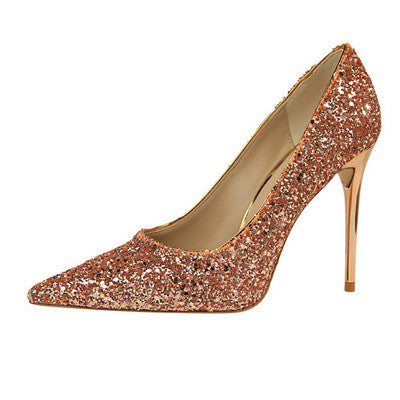 Thin heel Glitter Bridal Shoes - FabFunBride