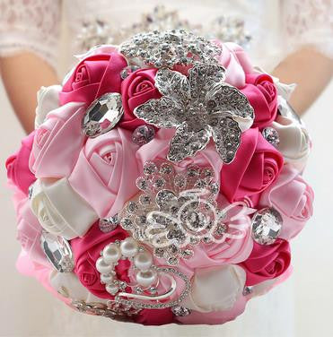 2016 beautiful Wedding Bridal Bouquet with Beaded crystal Bridal and Bridesmaid Bouquet Romantic the bride bouquet - FabFunBride
